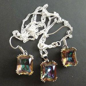 Jewelry - 15+ TCW MYSTIC RAINBOW TOPAZ ~925 STAMPED STERLING
